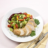 Mixed salad with chicken breast fillet