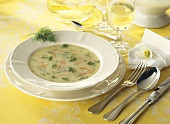 Cauliflower soup with smoked salmon and dill
