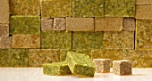 A wall of stock cubes (close-up)