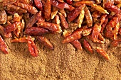Dried chili peppers on chili powder