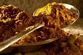 Turmeric powder in a bowl and on spoon