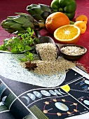 Rice, oat flakes, fruit & vegetables for the lunar diet