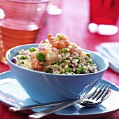 Risotto orto e mare (Rice with shrimps and beans, Italy)