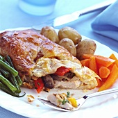 Filo pastry with chicken and vegetable filling