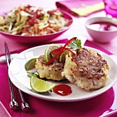 Fish cake with limes, chili and coriander