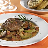 Braised turkey leg with Provencal vegetables