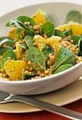 Corn salad with fruit and fried buckwheat