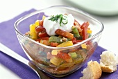 Peperonata (pepper stew) with sour cream