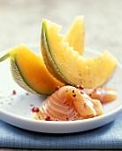 Honeydew melon with smoked salmon