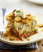 Mince and potato bake with broccoli and cauliflower
