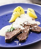 Boiled beef fillet with potatoes and horseradish sauce