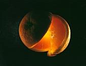 Orange, cut open