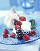Dairy ice cream with berries