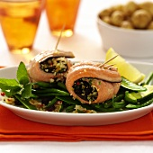 Salmon rolls with couscous filling