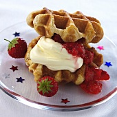 Waffles with strawberry and lemon mousse filling