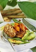 Pork fillet with avocado and peach chutney