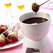 Chocolate fondue with strawberry