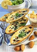 Spinach quiche with almonds and raisins