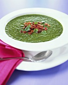 Herb cream soup with bacon