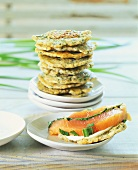 Potato and herb pancakes with Graved lachs