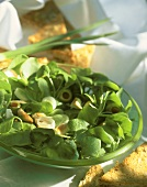 Watercress salad with olives and chicken breast