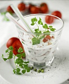 Soured milk with tomatoes and chervil