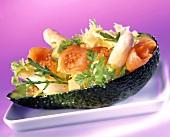 Avocado salad with asparagus, salmon and caviare