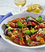 Fish and seafood stew with vegetables