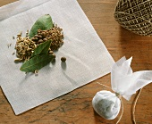 Spice bags with bay leaves