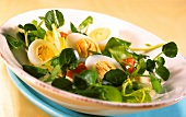 Watercress salad with quail's eggs