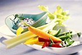 Vegetable sticks with wild herb and egg dip