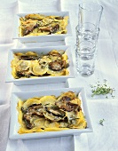 Potato and mushroom gratin with herbs