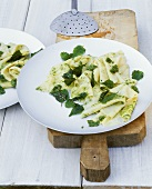 Pasta sheets with mint pesto
