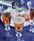 Champagner Rosé einschenken