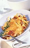 Parmesan escalope with tagliatelle