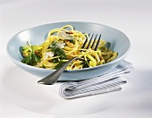 Spaghetti with leeks and parsley and walnut pesto