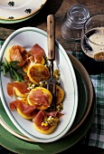 Irish potato cake with ham and chopped egg