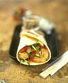 Wrap with shrimp and pepper filling