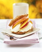 Sweet pastry with nectarine and ice cream filling
