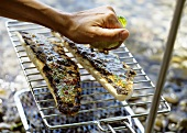 Sprinkling barbecued fish fillets with lemon