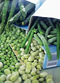 Frozen beans, peas and asparagus