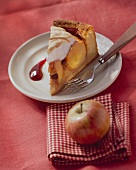 A piece of baked apple cake with meringue topping