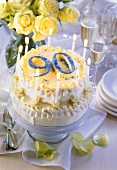 Two-tier cream gateau for 90th birthday