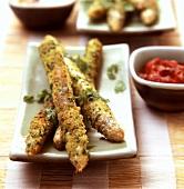 Asparagus in herb coating