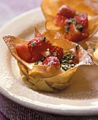 Filo pastry bowls filled with vanilla mousse & strawberries
