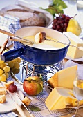 Cheese fondue and ingredients