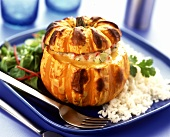Pumpkin with chicken breast and vegetable stuffing