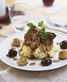 Rabbit ragout with potato and parsnip puree
