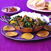 Lamb curry with spinach and rice