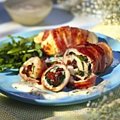 Plaice rolls with rocket stuffing wrapped in bacon